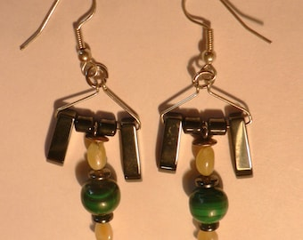 Earrings 1 malachite and hematite, amber earrings
