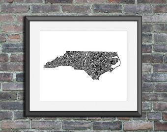 North Carolina typography map art unframed print personalized custom state poster wall decor engagement wedding housewarming gift beach