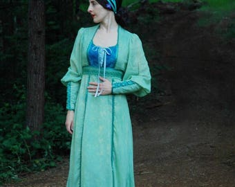 Reserves for Dana... do not buy.... Medium... Vintage Gunne Sax Style Dress... Hand Dyed Moss and Forest Green and Sapphire Blue... OOAK