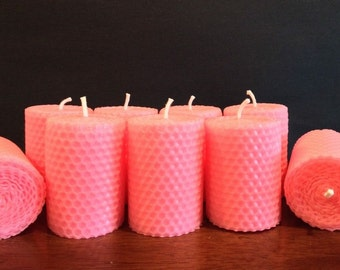 Hot pink hand rolled beeswax candle