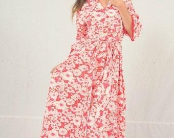 1960s hot pink floral dress vintage