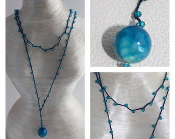 Milky turquoise beaded necklace and hook