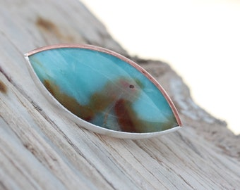 Large Amazonite Ring Sky Blue Copper Silver Marquise Cut Gemstone Shield Rust Wave Inclusion Southwestern Boho Statement Ring Design  - Woge