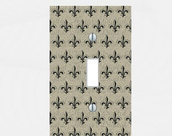 Light switch plate Toggle french fleur de lis pattern Homemade multi toggle Handmade living room decor Outlet Kitchen Home Decor USA made