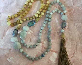 Mermaid Mala in aquamarine and opal