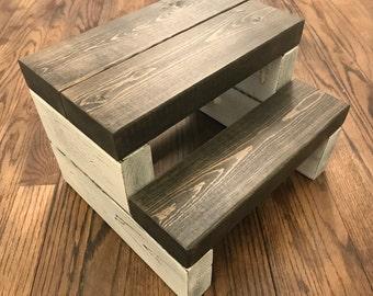Rustic Segmented Kids Step Stool / Toddler Step Stool / Wooden Step Stool / Rustic Step Stool / Kitchen Step Stool / Bathroom Step Stool