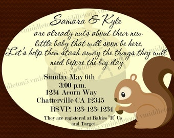 Squirrel Acorn Baby Shower Invitation Print Your Own 4x6 or 5x7