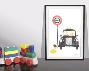 Retro London Black Taxi Corgi Art Print / Royal Wedding / Dog Art Print / London Wall Art / Kids Room Decor / Children's Playroom