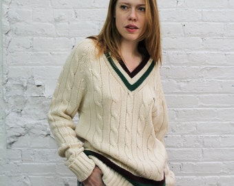 chunky cable knit 80s Izod Lacoste vneck preppy sweater / cream golf sweater with burgandy and green vneck / Izod Lacoste oversize sweater