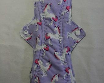 Kiki Mama Cloth Menstrual Pad Overnight 12 in Size Unicorns on Lavender Purple