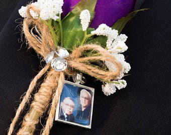 Groom Boutonniere Lapel Pin Custom Photo Memorial Wedding Keepsake