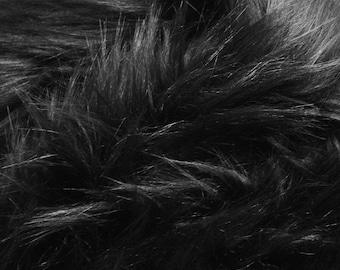 "Black faux fur 2"" pile, black craft squares, black fursuit fur, long pile faux fur, black shag fur, black fur, fake wolf fur, black wolf fur"