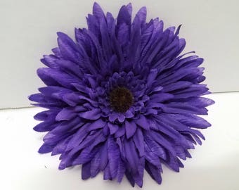 Handmade Daisy-Like Dark Purple Flower Hair Clip, Pinup, Event, Festival Wedding Accessories