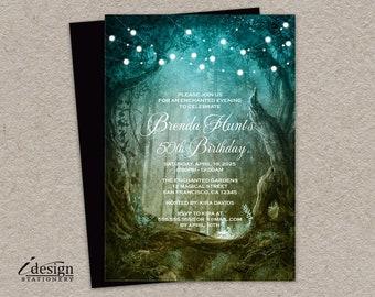 Enchanted Birthday Invitation | Printable Midsummer Night's Dream Invitations | String Lights Invites | Fairytale 50th Birthday Party Invite