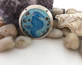Silver Enamel Seahorse Pendant (Blue)