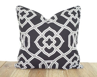Black pillow cover 18x18, geometric cushion cover modern living, gray throw pillow with piping, ikat cushion black and white decor