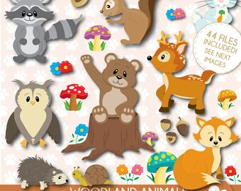 Woodland Animals Clipart, Forest Animals clipart ,Fall Animals clipart, Commercial use, Raccoon Clipart, Deer Clipart, CL0042