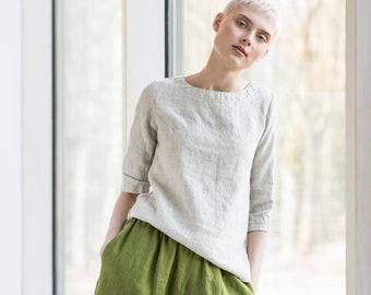 Linen wide leg YORK MIDI pants / Linen culottes / Linen skirt - pants available in 34 colors