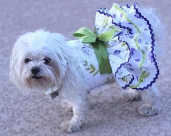 Dog Dress, Dog Harness Dress, Dog Fashion for Small Dog, Summer Dress for Dogs, Ruffle Dress, Handmade, Custom Dog Dress, Floral, purple