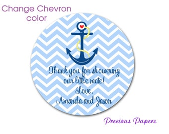 Personalized PRINTED Navy and blue anchor stickers baby shower sticker blue chevron nautical stickers nautical baby shower label