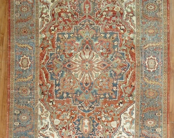 Antique Persian Heriz Rug Size 8'1'' x 11'7''