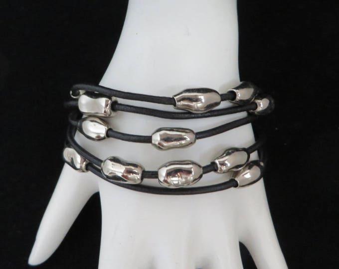 Silver Tone Bead Bracelet, Vintage Black Band Bracelet, Multistrand Wire, Boho Bracelet, Gift Idea