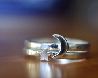 Silver Moon Ring, Silver Star Ring,  Celestial Charm Jewelry, Custom Engraved Stacking Rings, New Moon & Star Jewelry, Personalized Ring Set