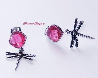 July Birthstone Earrings, Ruby Dragonfly Earrings, dragonfly jewelry, July Birthday Gift, vintage inspired, dragonfly gift, insect jewelry