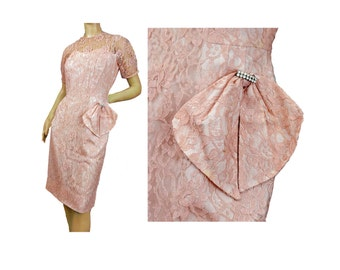 Vintage 50s Party Dress Pink Lace Wiggle Dress Short Sleeves Side Bow Trim