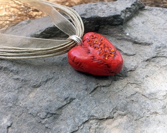 Heart Necklace, Polymer Clay Necklace, Artisan Pendant, Handmade Jewelry, Heart jewelry, Gift for Her, Red Heart, Swarovski Crystal Necklace
