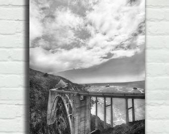 "Black and White Coastal Canvas Wrap - grey bixby bridge 16x24 canvas California photography coast 24x36 canvas bathroom art 8x12 - ""Always"""