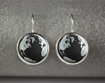 Globe World earrings, World earrings, Globe jewelry