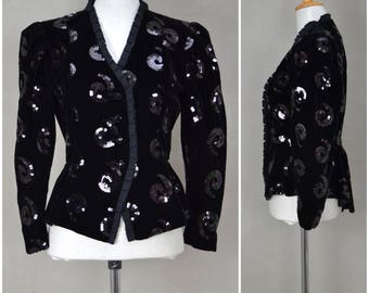 Vintage evening jacket, 1980's black velvet party jacket with sequin detailing, 80's Evening wear, Power dressing  silhouette, Steampunk