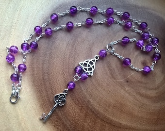 Beaded key necklace - purple triquetra charm jewellery gift for her women's jewellery charm necklace