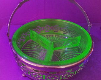 Beautiful Vaseline Glass Divided Candy Dish