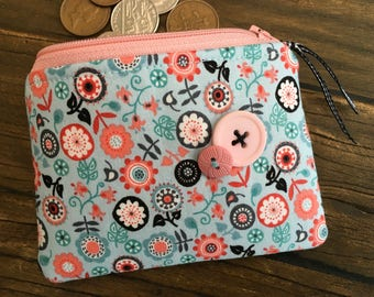 NEW - Handmade fabric  coin purse pouch small make up bag Floral Ribbon Flower Pink Button