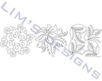 "Three Quilt Patterns N18 machine embroidery designs - 3 sizes 4x4"", 5x5"", 6x6"""