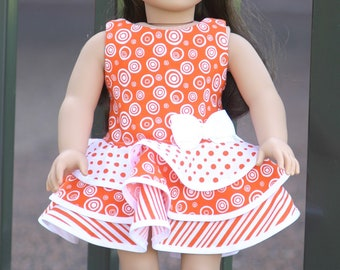 """Orange and white party dress for 18"""" dolls"""