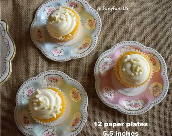 pretty scalloped cupcake plates, tea party tableware, tidbits plates, floral, flowers, gold foil accents, bridal shower, baby, small, girls