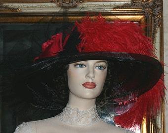 Edwardian Hat, Downton Abbey Hat, Kentucky Derby Hat, Ascot Hat, Titanic Hat, Somewhere in Time Hat, Wide Brim Hat - Senorita Carmelita