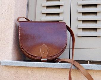 "Brown Leather ""Athena"" Bag / Leather Crossbody Saddle Bag / Greek Handmade Leather Handbag / Brown & Dark Brown Color"