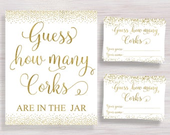 Guess How Many Corks, Bridal Shower Games, Gold confetti Bridal Shower ideas, Wine Theme, Bachelorette, Wedding Activity, Guessing Game