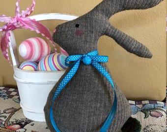 Felted Wool Easter Bunny-Fiberfill Stuffed Wool Easter Rabbit-Recycled Wool Sweater-Easter Decoration-Handmade Bunny-Fabric Bunny-Grey