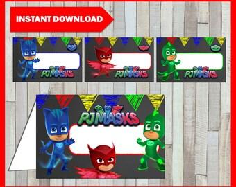 Printable Pj masks Chalkboard Food labels instant download, Pj masks Food tent cards, Printable Chalkboard Pj masks Tent cards