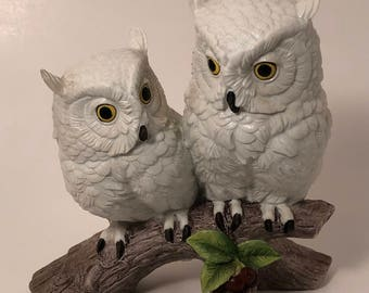 """White Owls by Andrea; Pair of White Owls Sitting on a Little Tree Branch; 7"""" Tall at the Tallest Point; Hoot Owls; Screech Owls; Barn Owls"""