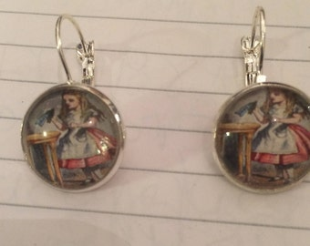 Alice in Wonderland Small Round Silver Earrings w/ Leverback for Pierced Ears