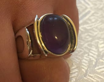 Natural Amethyst ring, 925/1000 silver sterling/size 54