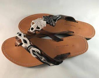 "Niko & Alexander"" Luxury Greek Handmade Embroidered Leather Sandals Model ""Penelope"""