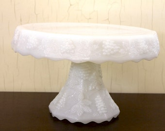 White Milk Glass Footed Cake Stand with Grape Motif (E1445)