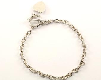 Vintage Rolo Chain Toggle Bracelet Sterling Silver BR 2430